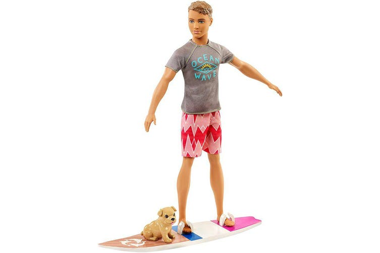 Barbie Dolphin Magic Ken Doll with pup and surfboard