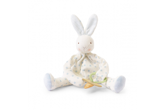 Bunnies By The Bay Silly Buddy Dummy holding toy with rattle Blue Dots