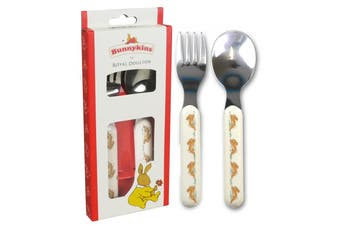 Bunnykins Spoon & Fork – Playing Design Red