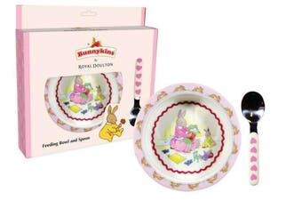 Bunnykins Feeding Bowl & Spoon – Sweethearts Design Pink