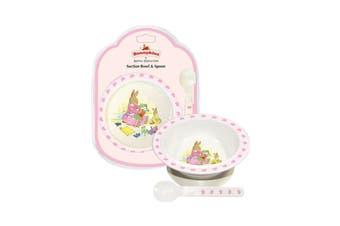 Bunnykins Melamine Suction Bowl & Spoon Feeding Set Sweethearts Pink