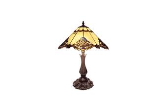 Large Benita Leadlight Tiffany Table Lamp Beige