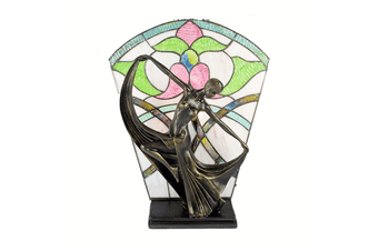 Leadlight Art Deco Table Lamp Floral