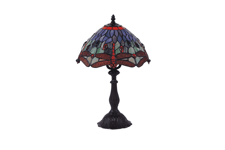 Dragonfly Tiffany Table Lamp - Red