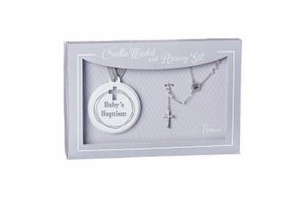Roman Inc Baby's Baptism Rosary and Cradle Medal Set