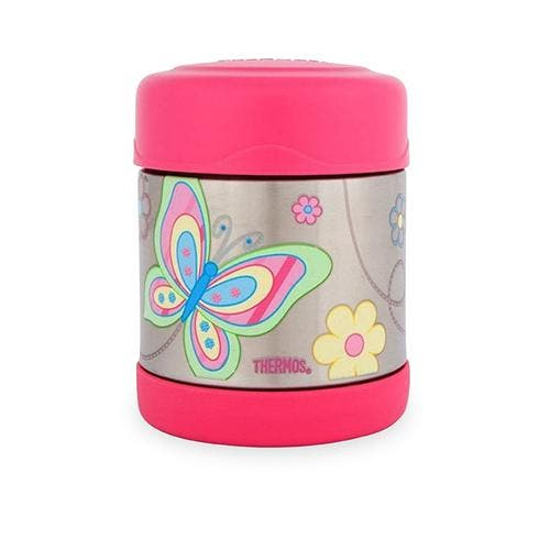 Thermos Funtainer Food Jar 290ml Butterfly Thermos Funtainer Food Jar 290ml Butterfly    Thermos™ double wall vacuum insulation for maximum temperature retention, hot or cold Durable stainless steel interior and exterior Extra wide mouth is easy to fill, serve from and clean Capacity: 290ml Dimensions: 8.8cm W x 8.8cm D x 11.4cm H     GUARANTEED AUTHENTIC THERMOS BRAND