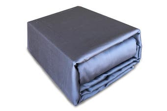 Luxury 400TC Bamboo Cotton Sateen Fitted Sheet Set Charcoal Queen Size Bed