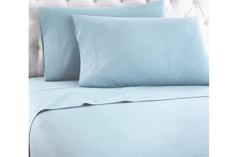 Luxury 400TC Bamboo Cotton Sateen Fitted Sheet Set Ice Blue Queen Size Bed