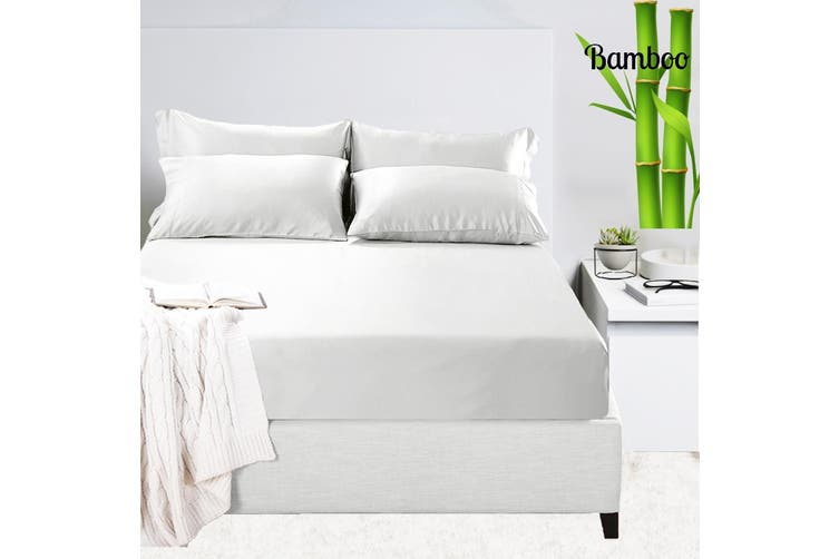 Luxury 400tc Bamboo Cotton Sateen, King Fitted Sheet On Queen Bed