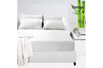 Luxury 400TC Bamboo Cotton Sateen Fitted Sheet Set White Mega Queen Size Bed