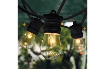 10m Black Festoon String Light with 10 Bulb 240V - LED 8W Teardrop Opal Dimmable 2200K