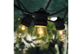 20m Black Festoon String Light with 20 Bulb 240V - LED 8W GLS Dimmable 2200K