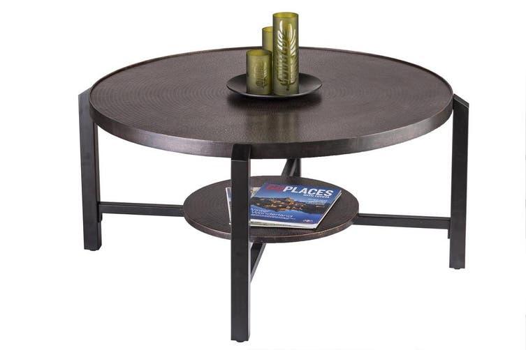 Black Round Coffee Table With Storage Shelf In Copper Finish Top Matt Blatt