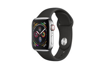 Apple Watch Series 4 A2008 44mm Silver Aluminium Case with Black Sports Band [Good Grade]