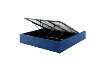 Fabia Fabric Gas Lift Storage King Bed Base - Blue