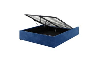Fabia Fabric Gas Lift Storage Queen Bed Base - Blue
