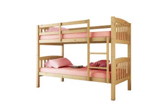 Luxo Dante 2-in-1 Solid Pine Timber Bunk Bed - Natural