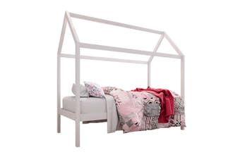 Doris Solid Pine Timber Single House Bed For Kids - White