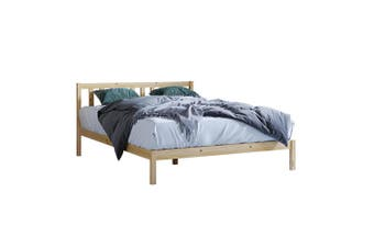 Drusa Solid Pine Timber Double Bed Frame - Natural