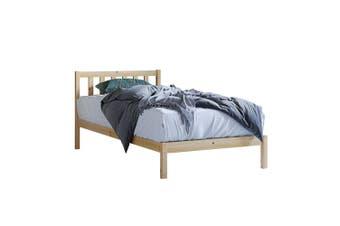 Drusa Solid Pine Timber Single  Bed Frame - Natural