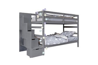 Galla Timber Bunk Bed with Storage Staircase - Grey
