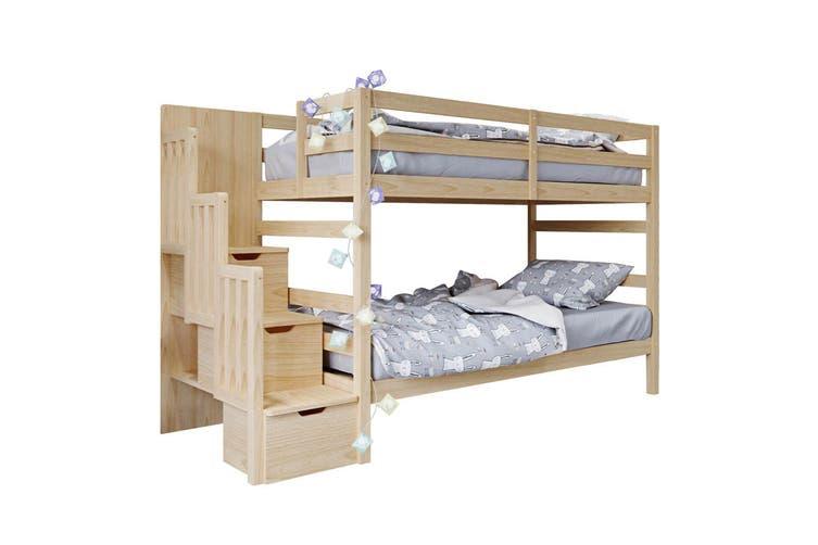 Galla Timber Bunk Bed With Storage Staircase Natural Kogan Com