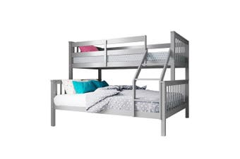 Nero 2-in1 Convertible Natural Pine Triple Bunk Bed - Grey