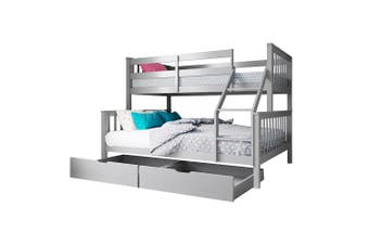 Nero Natural Pine Triple Bunk Bed w/ Storage Drawers - Grey