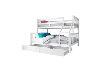 Nero Natural Pine Triple Bunk Bed w/ Storage Drawers - White