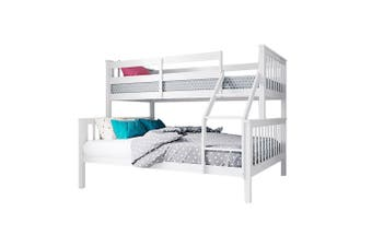 Nero 2-in1 Convertible Natural Pine Triple Bunk Bed - White