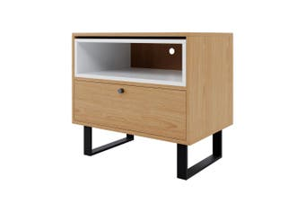 Yasmin Bedside Table with Drawer & Shelf - Natural