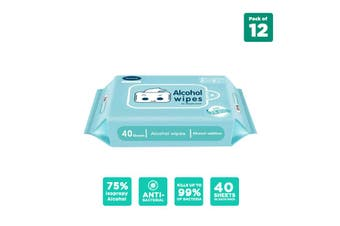 75% Alcohol Wet Wipes (40 sheets) - Pack of 12