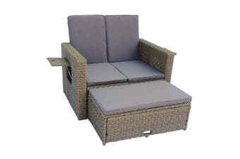 Alrish 2 Seater Wicker Outdoor Loveseat Daybed Set - Brown