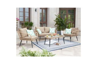 Bequia 4 Seater Rope Wicker Outdoor Sofa - Sand