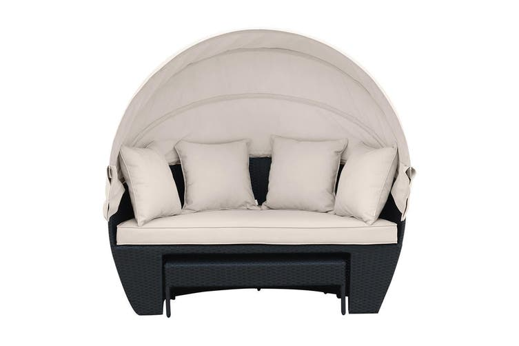 Erith Wicker Outdoor Furniture Day Bed w/ Canopy - Black