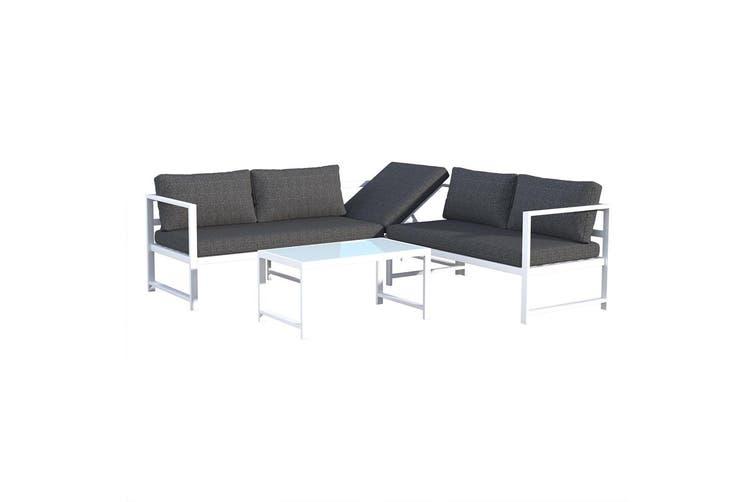 Huevos 5 Seater Aluminium Sunbed Corner Sofa Furniture Set