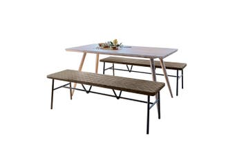 Adrian Dining Table with 2 Malcolm Benches Set in Brown