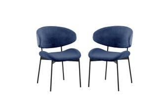 Alvdal Velvet Dining Chair (Set of 2) - Midnight Blue