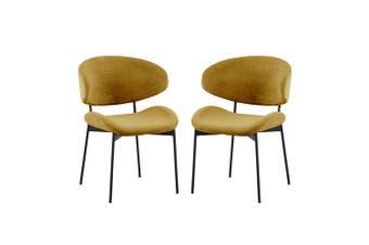 Alvdal Velvet Dining Chair (Set of 2) - Mustard