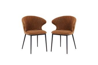 Ange Velvet Dining Chair (Set of 2) - Burnt Orange