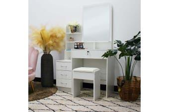 Charlotte Dressing Table Mirror w/ Drawers & Stool - White