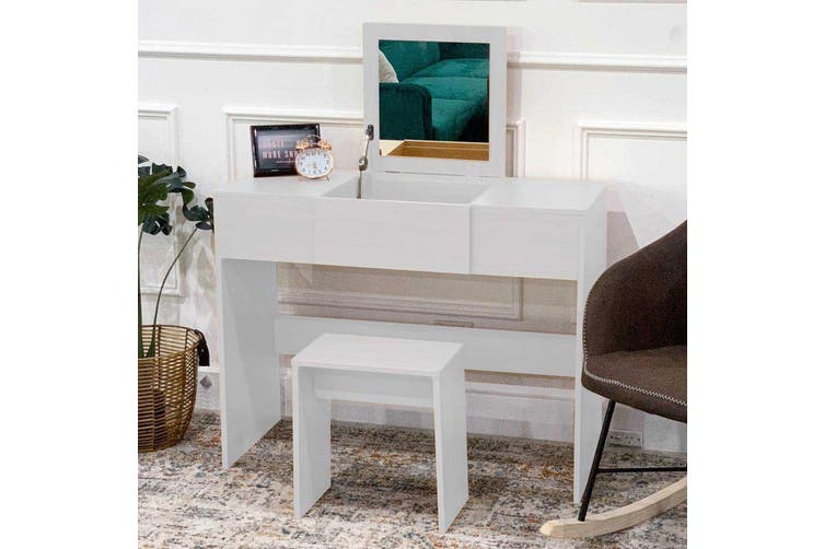 Cheyene Dressing Table Mirror w/ Drawer & Stool - White