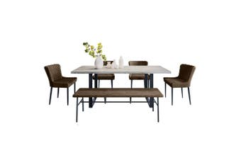 Ernest Dining Table with 4 Glenn Chairs and 1 Malcolm Bench Set in Brown