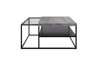Luke Concrete Style Coffee Table with Magazine Holder