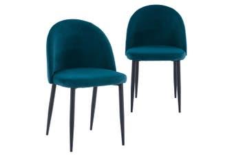 Nullica Velvet Dining Chair (Set of 2) - Teal