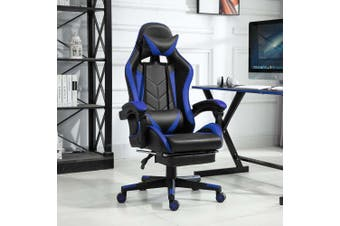 Luxo Racer Gaming Chair with Foot Rest - Blue
