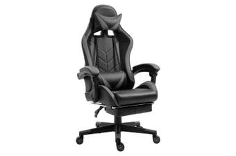 Luxo Racer Gaming Chair with Foot Rest - Grey