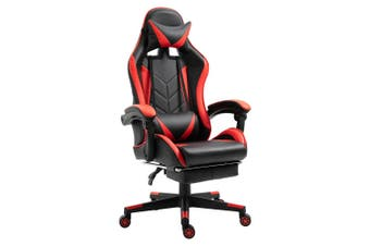 Luxo Racer Gaming Chair with Foot Rest - Red