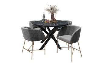 Stoten Dining Table(Marble) w/ 4 Catford Chairs(Dark Grey)