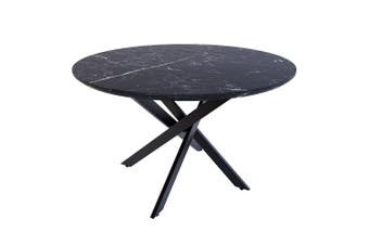 Stoten Round Dining Table -Black Marble
